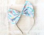 Cute pastel pink, lilac and mint unicorn and shooting star print large bow headband Pin up Kawaii