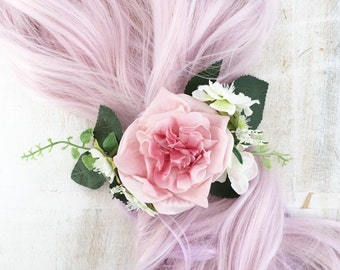 Bridal hair comb, pink and white flowers - green leaves hair comb - bridal accessories - flower girl - wedding