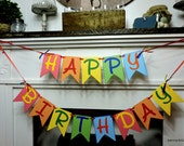 Rainbow Happy Birthday, Bright Birthday Banner, Primary Colors Happy Birthday Banner, Happy Birthday Decor, Bright Birthday Sign,