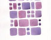 Original brick pattern painting on paper. Small abstract watercolor wall art in purple tones.