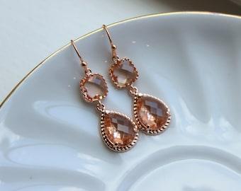 Bridesmaid Jewelry Rose Gold Blush Champagne Earrings Peach Earrings Teardrop Two Tier Wedding Earrings Wedding Jewelry Bridesmaid Jewelry