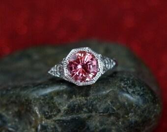 Vintage Padparadscha Sapphire Engagement Ring Fides Filigree Miligrain Antique Round cut 2ct 8mm White-Yellow-Rose gold 10k-14k-18k-plat