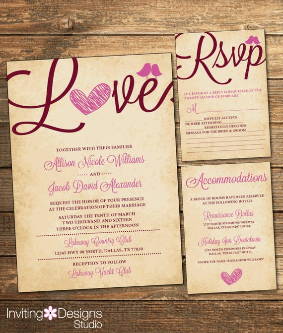 Rustic Wedding Invitation Suite - Marsala and Pink