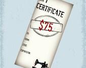 75 Dollar Gift Certificate - Gift Card For Cherishables - CherishablesNJ - Sewn in NJ - Ready to Ship
