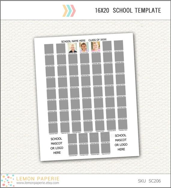 16x20 school composite template for 64 instant download sc206. Black Bedroom Furniture Sets. Home Design Ideas