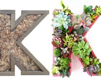 10 inch DIY Unfinished Succulent Monogrammed Initials Succulent Planter Succulent Letter Box