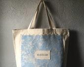 Custom personalized nana, nona, nonnie, grandma, babcia, gigi  pale blue Lace Canvas Tote Bag Baby Shower/New Baby Gift