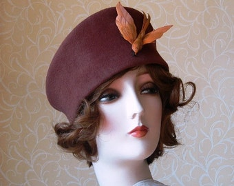 Yvette, a rich brown velour felt toque hat