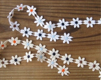 "Cotton Daisy Trim Venise Lace Multicolor with White or Natural 1"" Wide (1 Yard)"