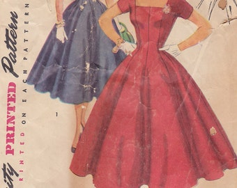 1954 Sassy or Prim Party Dress, Square Neck or Demure Collar Vintage Pattern Simplicity 4639 Princess Seams Flared 8 Gore Twirly Skirt