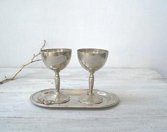 Vintage Goblet Unity on Tray, Silver Plate Wedding Goblets, Mid Century Wine Goblets Art Deco, Wedding Table Decor, Barware Decor Distressed