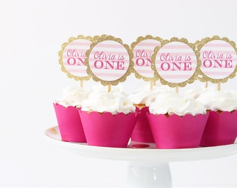 Girls First Birthday Party Cupcake Toppers 1st Birthday Cake Topper Pink and Gold Party Supplies Pink Glitter Cupcake Toppers / Set of 12