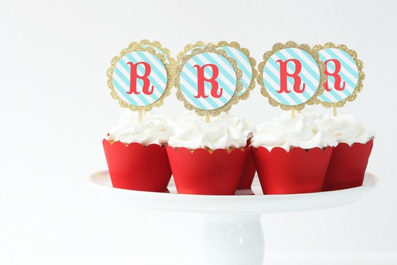 circus birthday cupcake toppers gold glitter party supplies red turquoise carnival party letter initial toppers big top circus decorations from