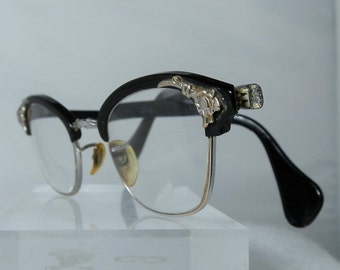 Vintage Full Frame Retro Ladies AO Eyeglasses White Gold Filled Black Plastic Perscription BiFocal Eyewear Glass Installed DanPickedMinerals