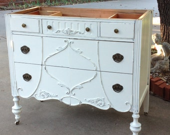 Antique BATHROOM VANITY Dresser Custom Found & Converted To Your Specs - Painted Dresser Shabby Chic Furniture