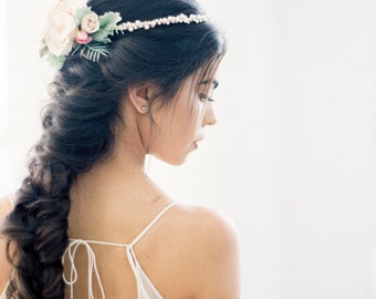 The Blush Flower Crown-created with blush pink roses, whispy sage greenery, glass pearls, beading and rose gold wiring