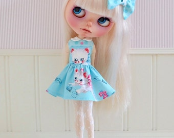 Sweet Petite Kitten Retro Dress with Matching Hair Bow
