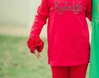 Girl's Long Sleeve Layering T shirt - RED Long Sleeve Ruffle icing top - Icing Shirt - Fall Shirt -Girl's Ruffle shirt -Girl's shirt