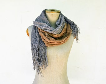 long cotton lace fringed scarf grey and rust, ombre hand dyed natural eco-friendly fashion gift OOAK soft clothing hemp lace viscose 7