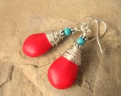 Wire Wrapped Red Howlite and Turquoise Earrings.Red Turquoise Howlite Dangle Earrings. Red and Turquoise Drop Earrings. Turquoise Jewelry