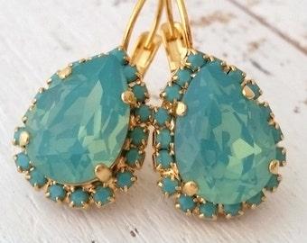 Mint drop earrings,pacific opal seafoam crystal Swarovski teardrop earrings, Bridesmaid gifts, Bridal jewelry, Drop earrings, Dangle earring