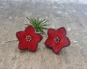 Red star earrings, flower earrings, air dry clay jewelry, rustic shabby chic earrings faux ceramic, sterling silver, Christmas earrings
