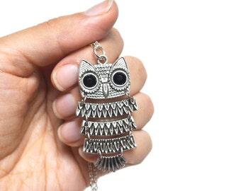 Owl Necklace, Owl Jewelry, Barn Owl Necklace, Moveable Owl Necklace, Bird Necklace, Nature Necklace, Spring Jewelry, Canadian Jewellery