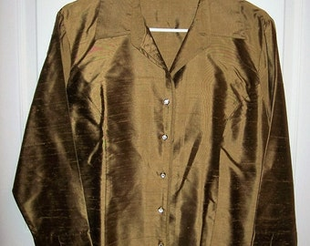 Vintage Ladies Light Brown Silk Blouse by Too She She Size 14 Only 10 USD