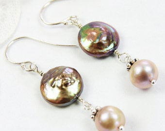 Coin Pearl Earrings Bronze Green Taupe Freshwater Cultured Pearl Sterling Silver Drop Dangle June Birthday Wedding Jewelry Fall Bridesmaids