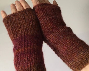 Wool blend mismatched boho fingerless gloves, rust texting gloves, stretchy fingerless mitts, arm warmers one size fits most