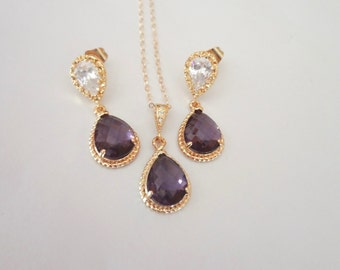 Amethyst necklace and earrings set - Czech glass ~ Gold filled chain - 14k Gold over Sterling posts - Bridal jewelry- February birthstone