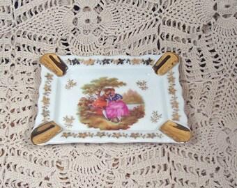 Vintage Limoges France Victorian Ashtray Gold Accents MINT