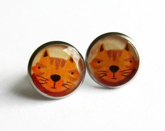 Ginger Cat Earrings, Orange Tabby Cat Stud Earrings, Resin Jewelry, Quirky Jewellery, Gift for Cat Lover, Hypoallergenic