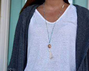 Wood, Sand & Ocean Beaded Tassel Necklace