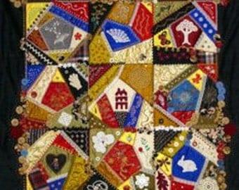 Custom Crazy Quilt, Fiber Art, Quilt Throw, Wall Quilt, Victorian Style Quilt, Keepsake Quilt,