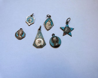 6 antique French religious medals pendants turquoise enamel medals Holy virgin Mary Lourdes Madonna and child Jesus Christ miraculous medals