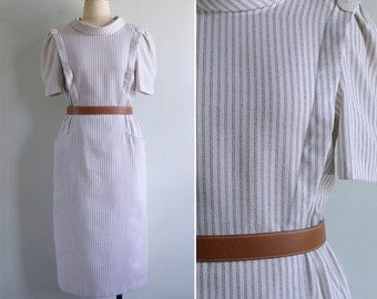 Vintage 80's 'Florence Nightingale' Striped Wiggle Dress with Collar S or M
