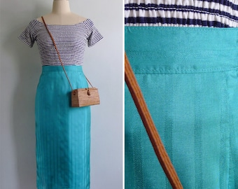 Vintage 80's Turquoise Green Textured Silky Stripe Pencil Skirt M or L