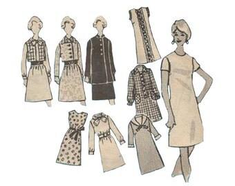1960s Shift Dress Pattern with Jacket or Coat Mail Order 4660 Many Variations Designer Anne Adams Uncut Vintage Sewing Pattern Bust 30