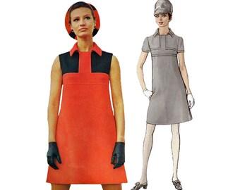 1960s Shift Dress Sewing Pattern Vogue 1954 Designer Couturier Simonetta of Italy Colour Block High Yoke Detail Bust 32 1/2