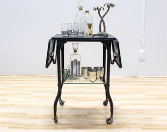 Mid Century Industrial Bar Cart / Typewriter Table, Black with Glass