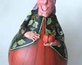 Halloween Witch Gourd Decoration Autumn Decor Gourd Art Primitive Decor Painted Gourds Dried Natural Gourds