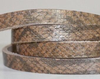 15 mm  Light Brown  Snakeskin Print Genuine Leather Strap, 1 Yard