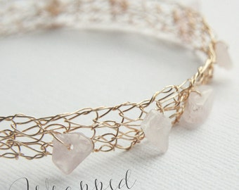 Rose Quartz Bracelet 14K Gold Filled Wire Crochet Cuff - Made to Order