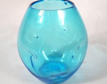 Blenko Round Mouth Pinch Vase, Ice Blue, 1950s