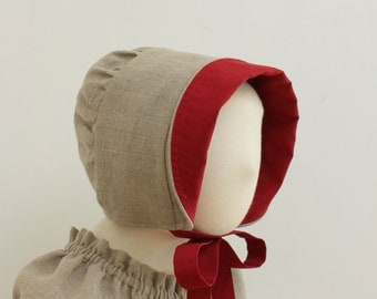 Linen sun hat Gray linen bonnet Grey and red sun hat Toddler sun bonnet lined sun hat Reversible bonnet