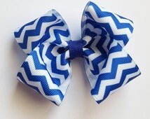 royal blue and white Chevron print hair bow--3.5 inch big boutique bows for baby toddler girls--simple accessories
