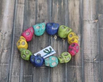 Candy Coloured Stretchy Skull Bracelet