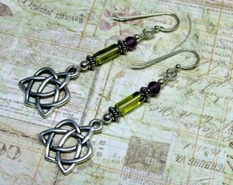 Celtic Heart Earrings, Olive Green Earrings, Celtic Earrings, St. Patrick's Day Earrings, Holiday Earrings, Irish Earrings, Dangle Earrings