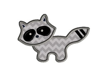 Racoon Applique Machine Embroidery Design-INSTANT DOWNLOAD